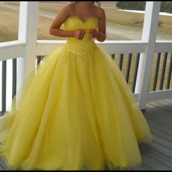 Tulle Prom Dresses,Yellow Prom Dress,Modest